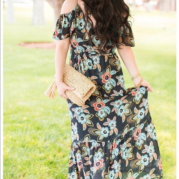 d1d9d1dbcacd NWT Loft Summer Floral Cold Shoulder Maxi Dress M